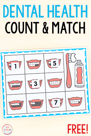 Dental health theme math activity.