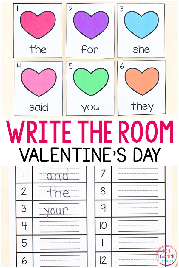 Valentine's Day write the room printables