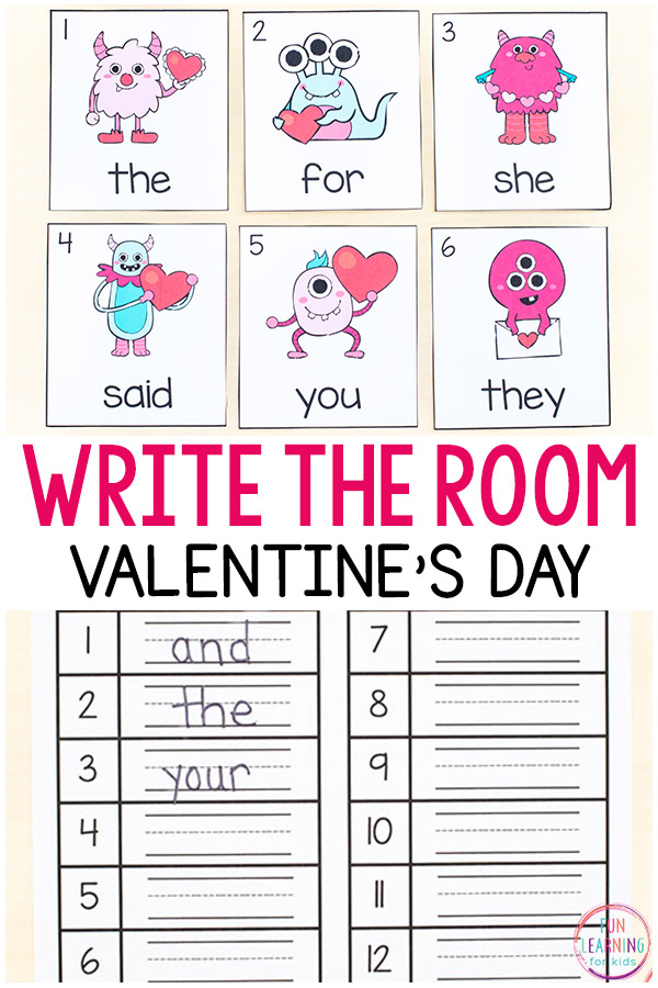 Editable sight word write the room activity with a Valentine's Day theme.