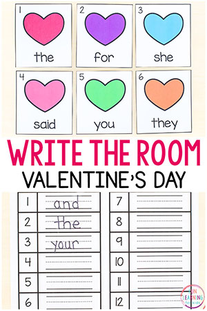 A free printable write the room activity for Valentine's Day.