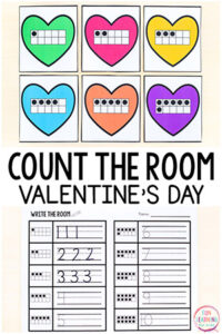Free printable Valentine's Day count the room activities that are differentiated and easy to use.