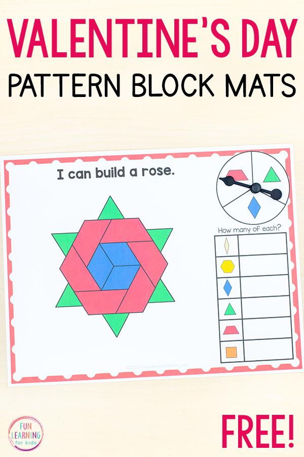 Free printable Valentine's Day theme pattern block mats