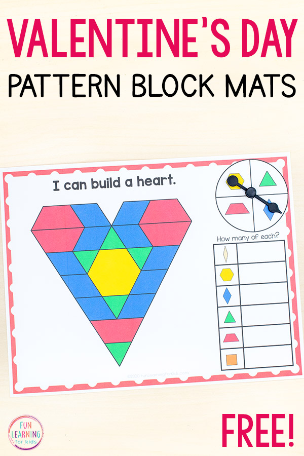 Valentine's Day theme pattern block mats