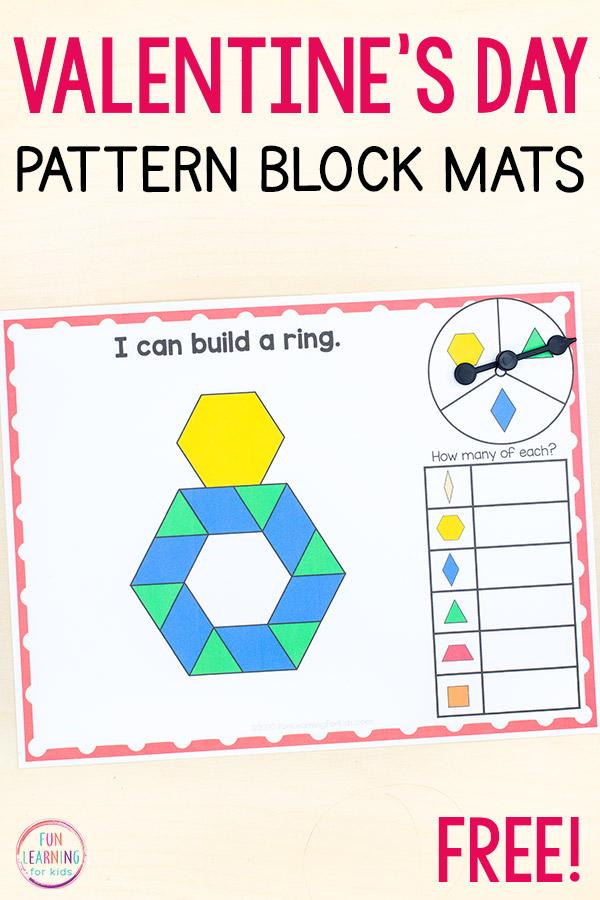 Valentine's Day pattern block mats