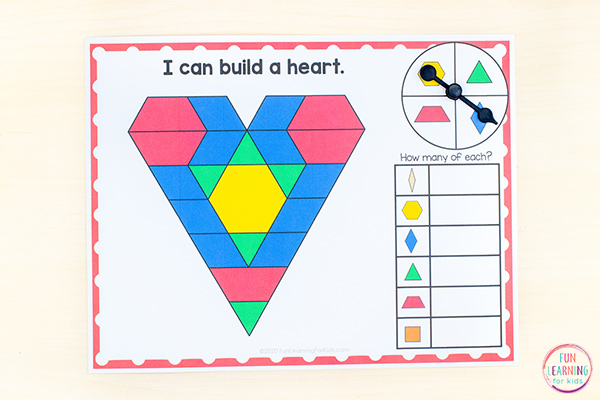 Valentine's Day theme pattern block mats that you can print and play