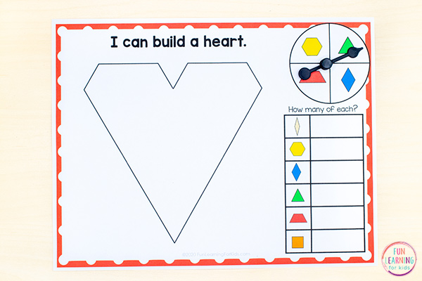 Pattern block mats for Valentine's Day math centers