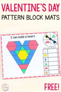 Valentine's Day pattern block mats math activity.