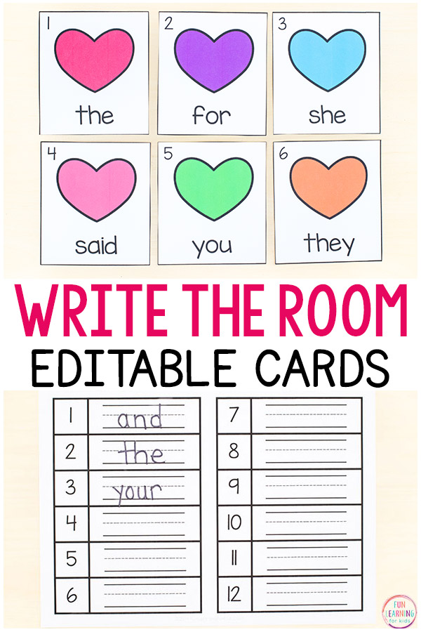 Editable Valentine's Day write the room cards and recording sheets