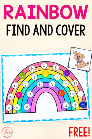 Free printable rainbow alphabet activity mats.