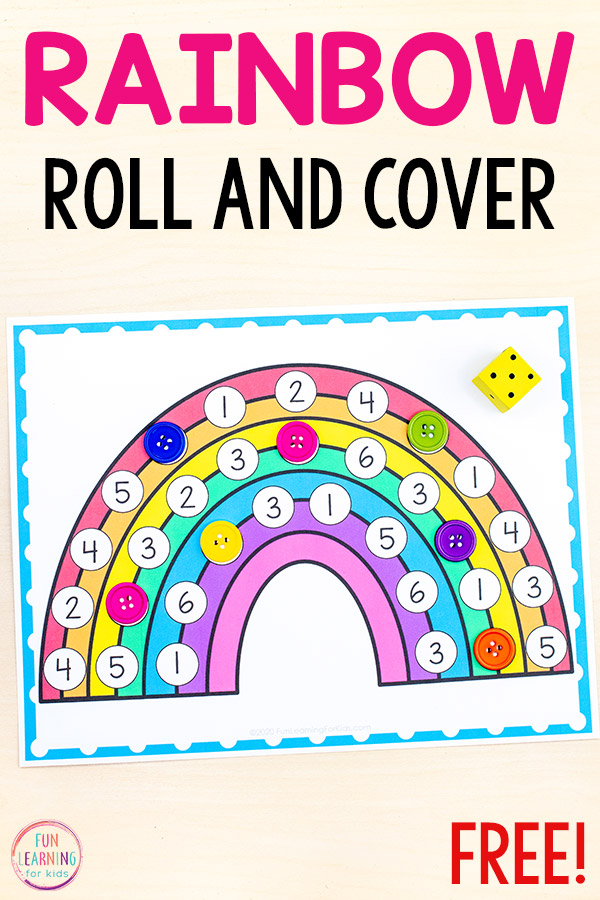 Free printable rainbow roll and cover math game for spring math centers.