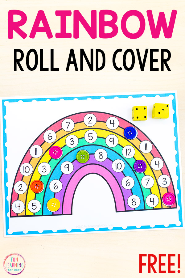 Free printable rainbow theme math activity.