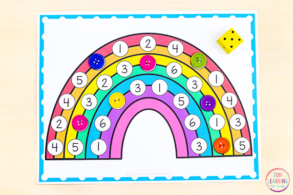 Printable rainbow number sense activity mats for preschool and kindergarten