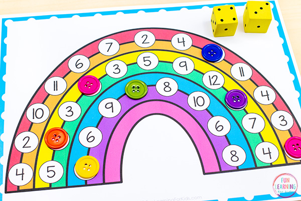 Rainbow math activity for rainbow theme math centers.