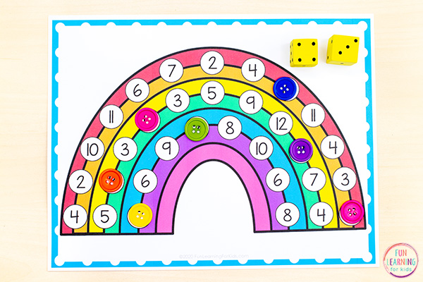 Free printable rainbow math mats for learning numbers and addition.