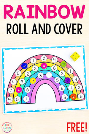 Rainbow Roll and Cover math activity for preschool and kindergarten.