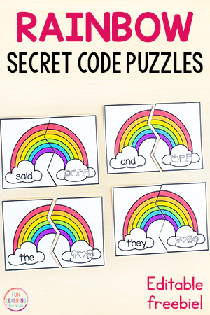 Rainbow sight word puzzle game
