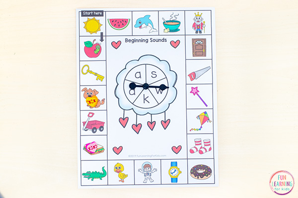 Valentine's Day phonics board games for fun literacy activities!