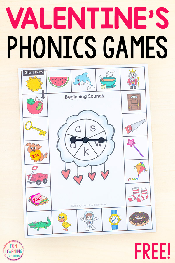 Free printable phonics board games with a Valentine's Day theme.