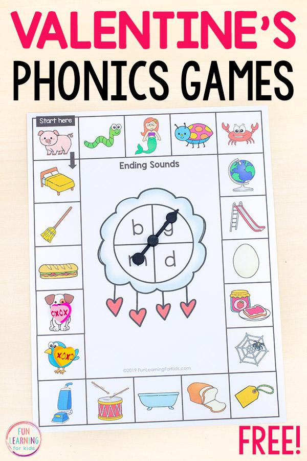 Valentine's theme printable phonics board games