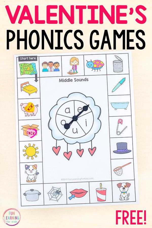 Valentine's phonics board games