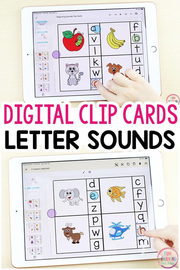 Interactive digital alphabet clip cards