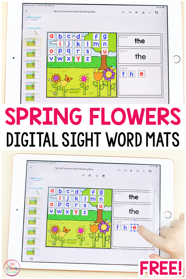 Free digital word building mats for spring.