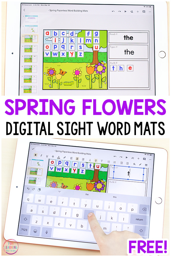 Free digital spring sight word mats