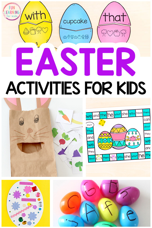 Easter activities list with math, literacy, sensory, science and arts and crafts.