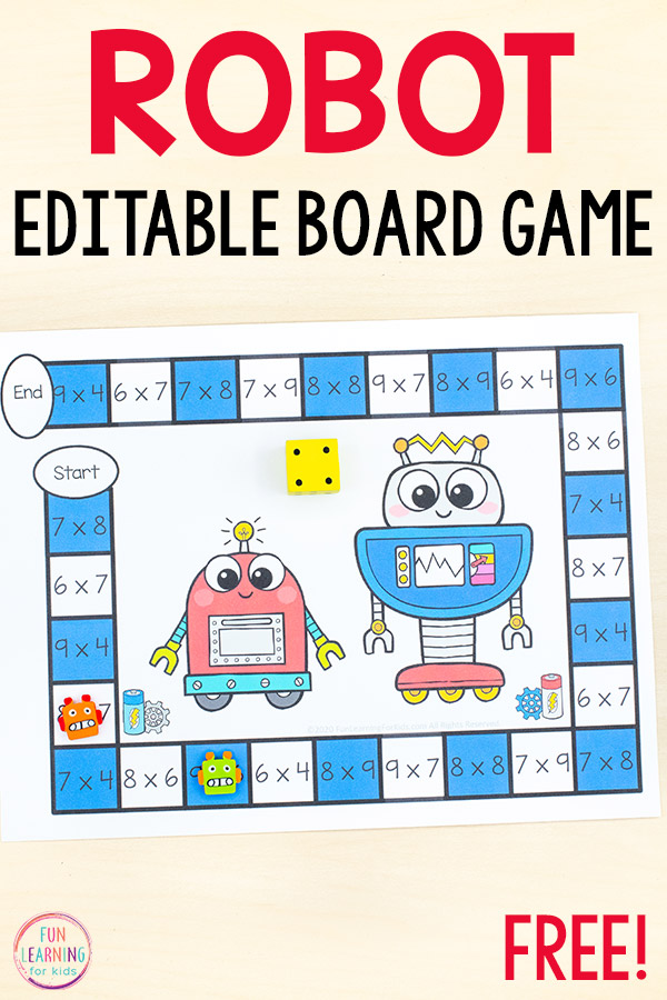 A free printable robot board game for math and literacy centers.