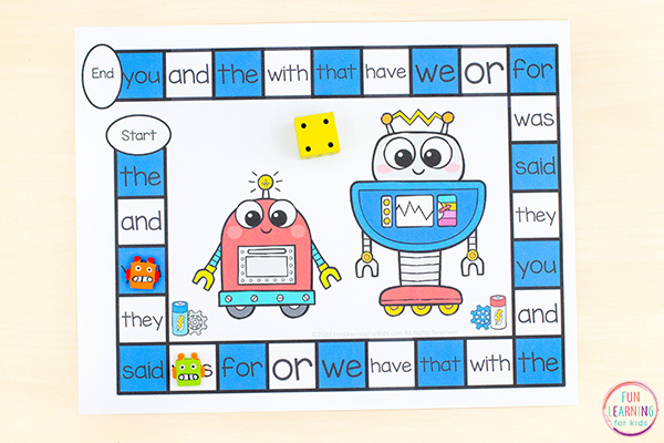 Free printable robot theme board game you can use it to teach sight words, letter identification, letter sounds, math facts and more!