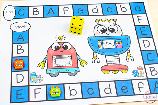 A free printable robot theme board game that you can edit easily and differentiate for your students.