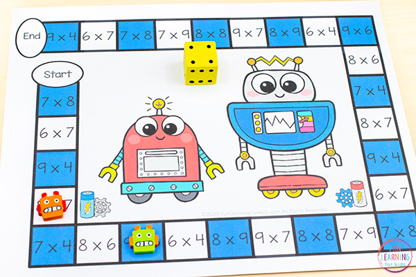 A free printable robot board game that is editable and easy to differentiate.