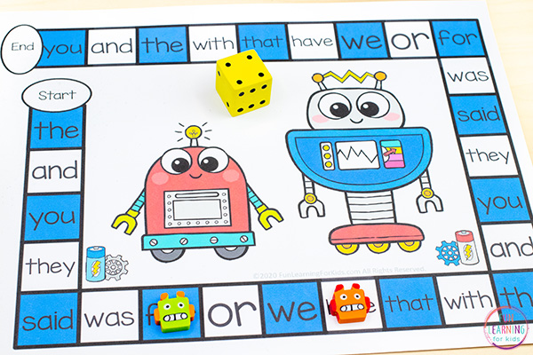 Robot theme board game that you can print and play. This no-prep printable is super easy to differentiate.