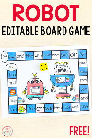 Free printable robot board game to teach sight words, alphabet, math facts and more!