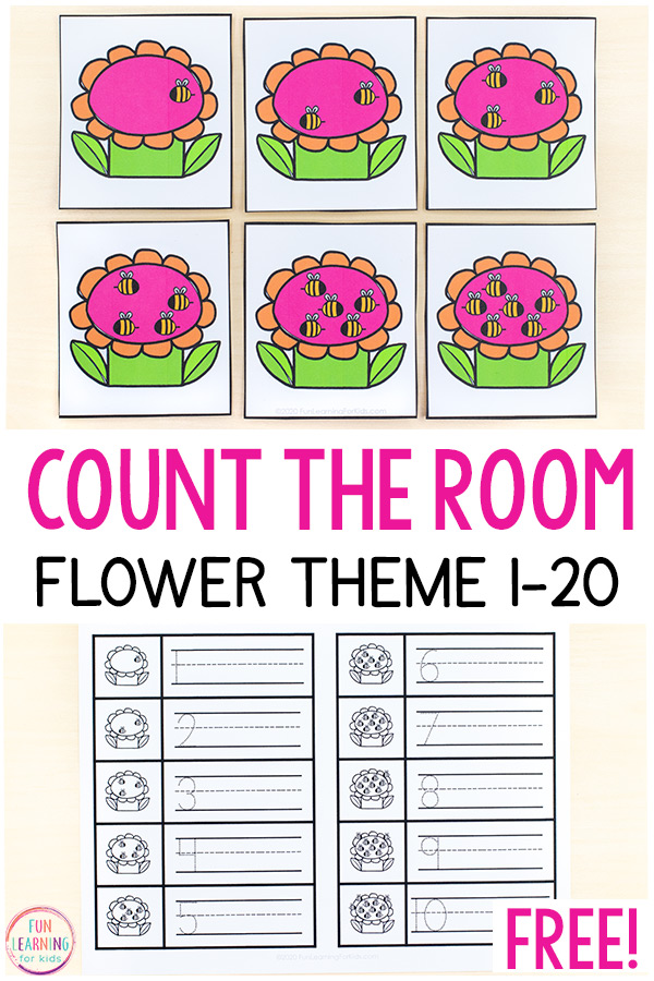 Free printable flower counting activities for numbers 1-20.