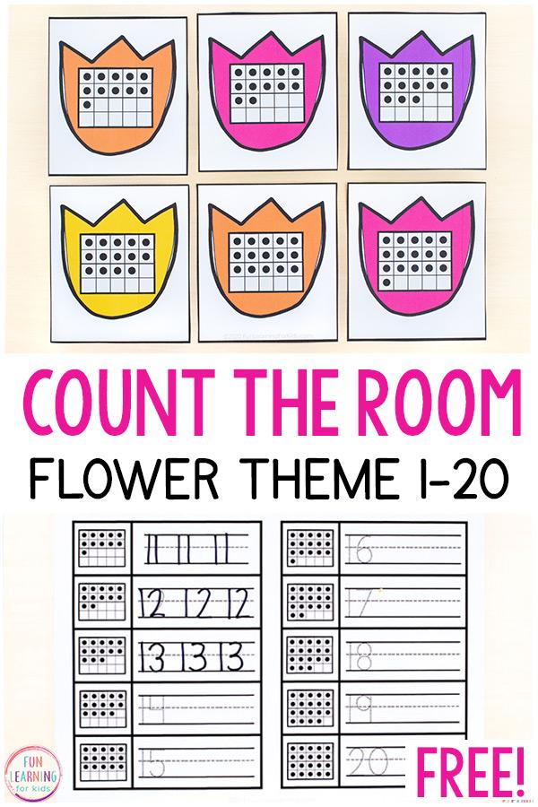 Printable flower count the room activity for preschool and kindergarten.
