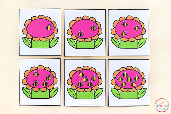 Printable count the room cards where you count bees on flowers.