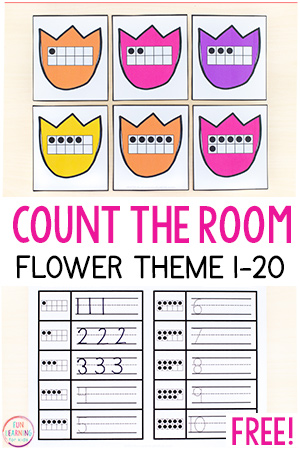 Flower count the room printables for spring math centers.