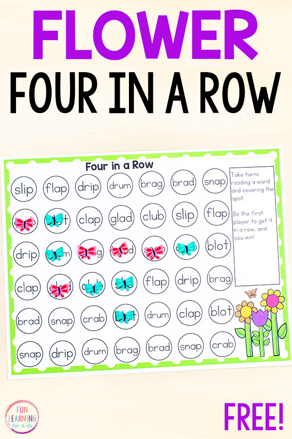 Free printable 4 in a row game for spring math and literacy centers.