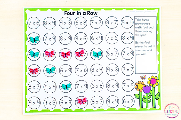 Free printable four in a row math game that is editable and print and play.