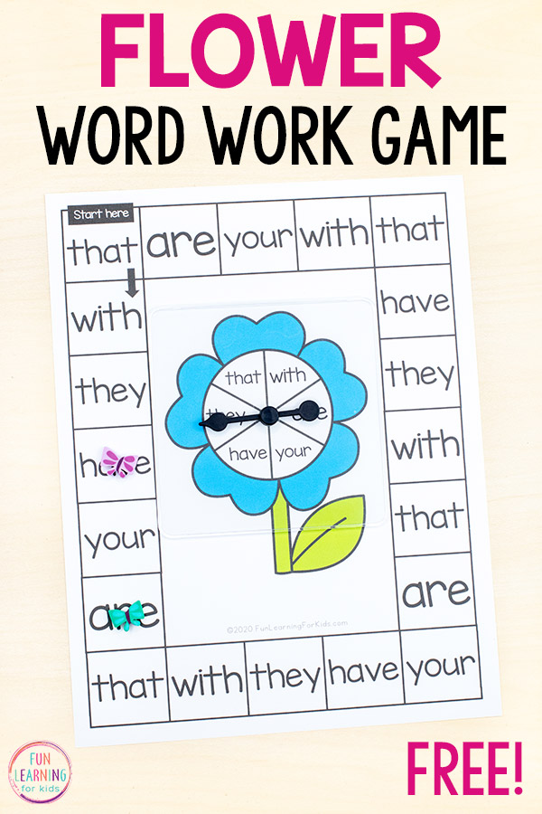 Free printable flower word work board game that you can print and play!