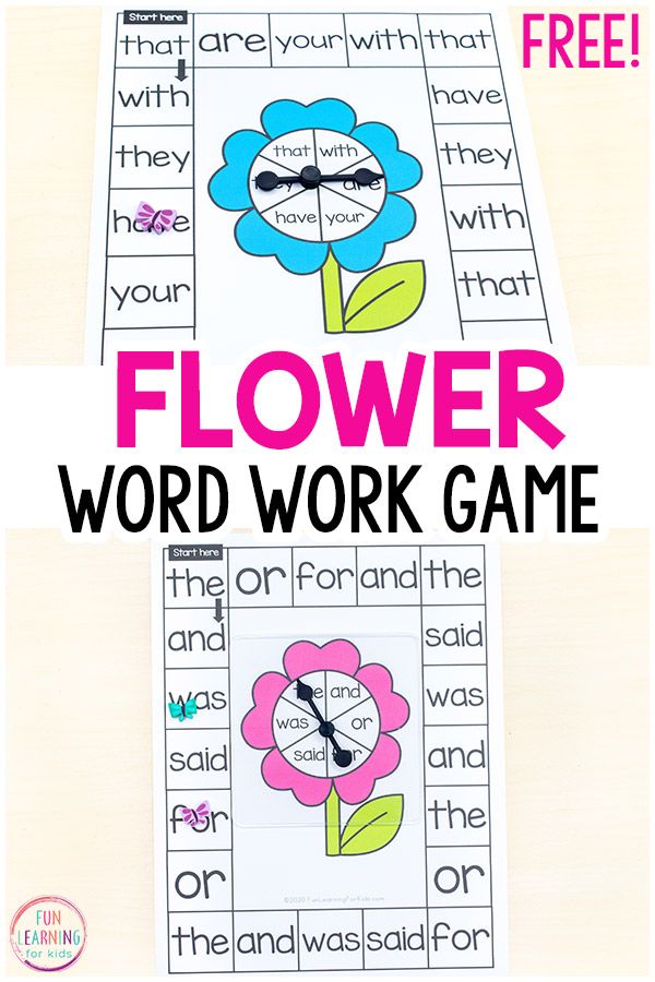 Free printable print and play word work activity.