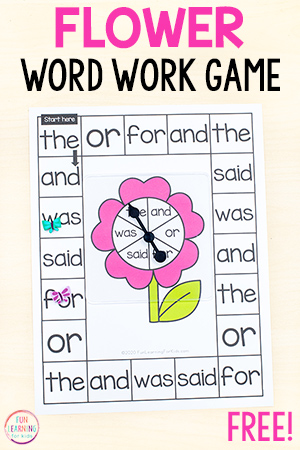 Printable flower theme board game that is editable so you can type words into it.