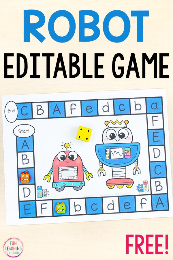 A free printable robot theme editable board game.