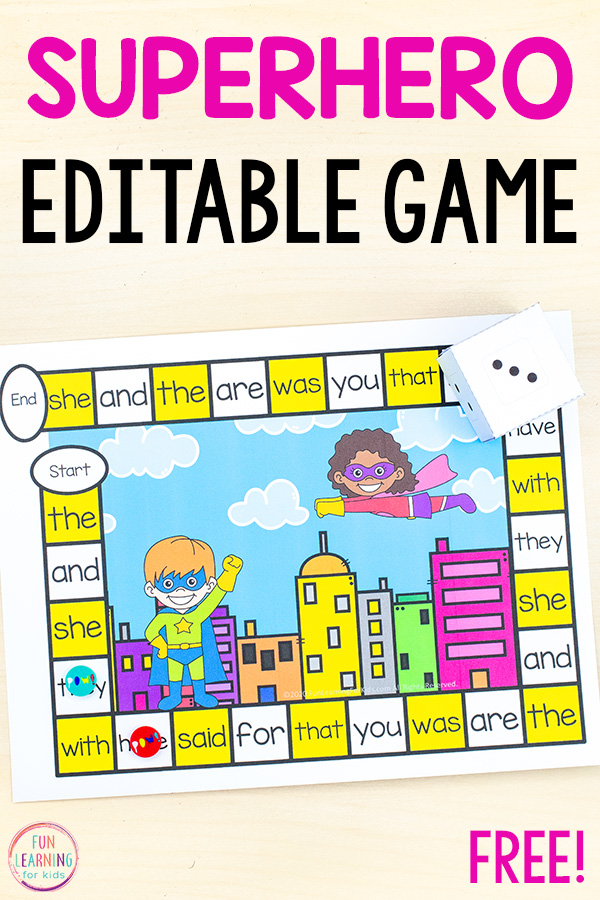Free printable superhero board game for kindergarten, first grade, and second grade.