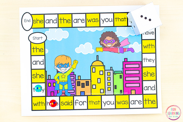 A fun sight word board game for math and literacy centers.