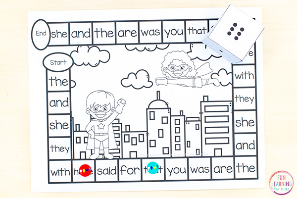 Editable superhero board game activity for kindergarten, first grade and second grade.