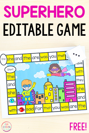 A fun superhero editable board game for kindergarten, first grade, second grade.