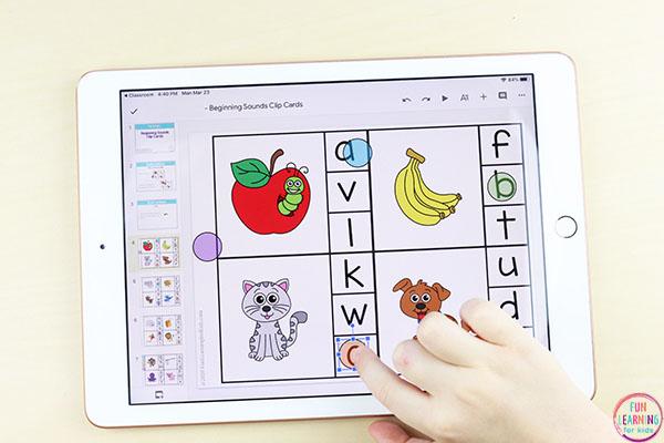 Digital alphabet clip cards for Google Slides in Google Classroom