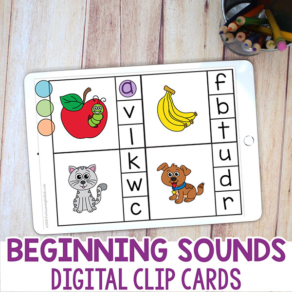 Digital alphabet activity in Google Slides for kindergarten.